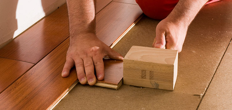 Mallet and Tapping Block Used for Hardwood Flooring Installation