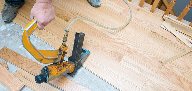 Nailing Hardwood Flooring With Pneumatic Flooring Stapler