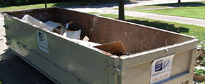 Overhead View of Loaded Dumpster