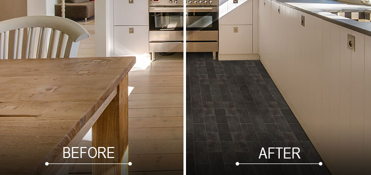 Before and After Image of Remodeled Kitchen Floor
