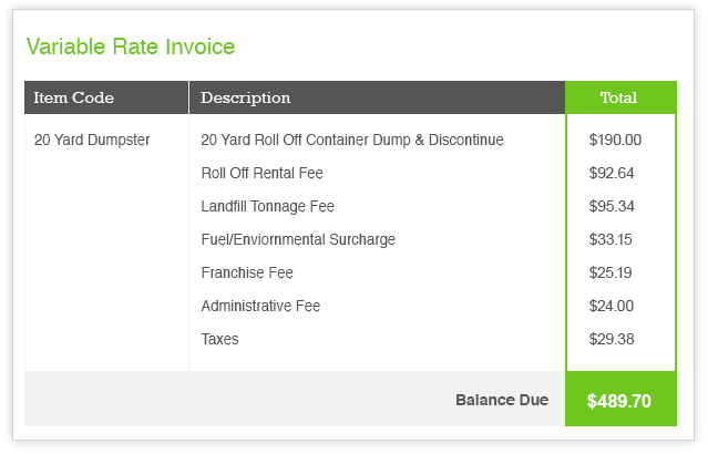 Sample Variable Rate Invoice for Dumpster Rental