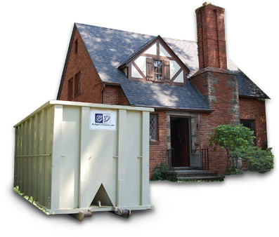 house with dumpster